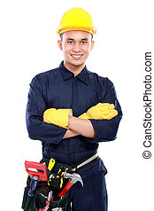 industrial worker - worker use blue uniform crossed his arms...