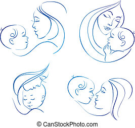 Mother with baby. Set of linear silhouette illustrations