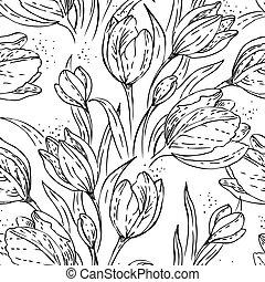 virágos, seamless, motívum, tulipánok
