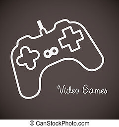 Videogames icons - illustration of game controls, Videogames...