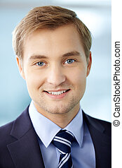 Smart businessman - Portrait of cheerful businessman looking...