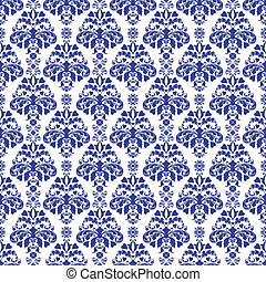Blue and White Damask - Seamless damask pattern in dark blue...