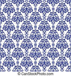 Blue & White Damask - Seamless damask pattern in dark blue...