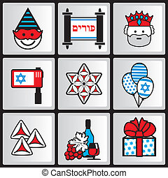 purim ikons - set vector icons for Jewish holiday of Purim