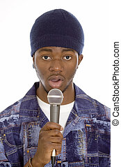 Speech - This is an image of a man holding a microphone.