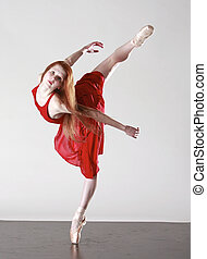 Dancer - Young Ballerina iN Red Dress