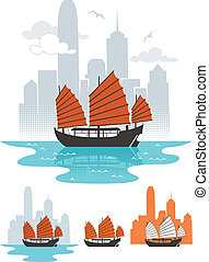 Hong Kong - Illustration of junk boat in Hong Kong. Below...