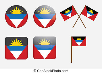 Antigua and Barbuda - set of badges with flag of Antigua and...