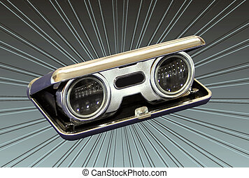 Silver Vintage Opera Binoculars - Isolated Picture of...