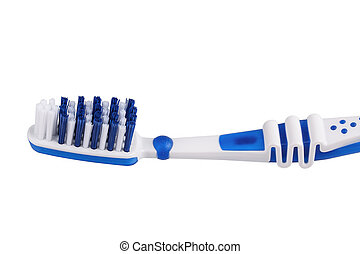 Close up of a blue toothbrush isolated on the white...