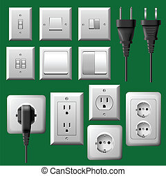 Plug and light switch set - Electrical plug and light switch...