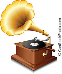 Gramophone - Old gramophone with record