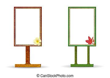 リサイクルされる, 板, 作られた, 木, 印