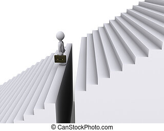 Businessman standing before gap of stairs - 3d businessman...