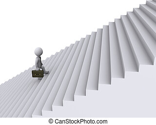 Businessman is climbing stairs - 3d businessman is tired of...