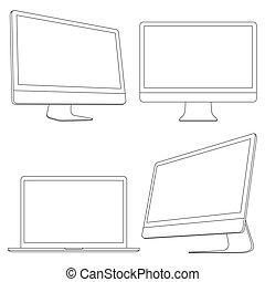 Computer displays and laptop. Vector set