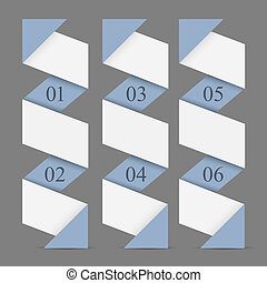Origami paper vertical numbered banners