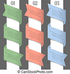 Three colored paper numbered banners. Vector design template...