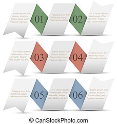 Three origami paper numbered banners.Trendy design template
