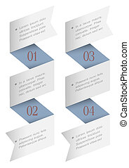 Vertical origami paper numbered banners