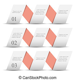 White origami paper numbered banners .Trendy design template...