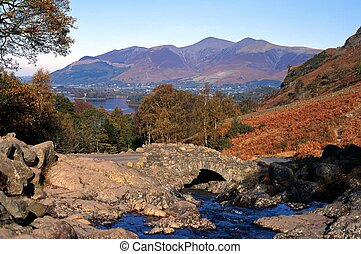 Small brook by Derwent Water - View of Bridge over Barrow...