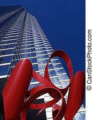 rojo, Escultura, y, Rascacielos, Dallas