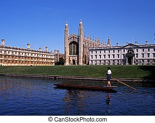 King College, Cambridge, UK. - Kings College with a punt on...