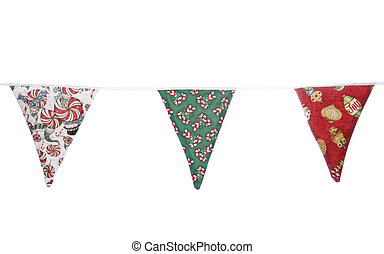 Christmas bunting on white background
