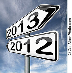 new year 2013 next and previous years the future starting...