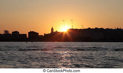 Sunset silhouettes of St.Petersburg - Sunset silhouettes of...