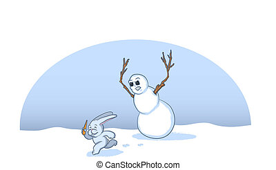 Christmas Snowman Cartoon - Snow Bunny Stealing a Carrot...