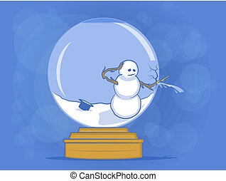 Broken Snow Globe Illustration - Snow man busting his glass...