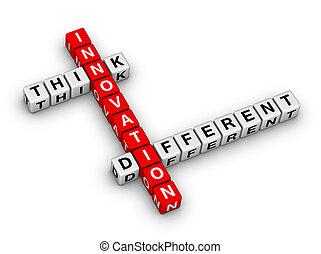 innovación, -, pensar, diferente