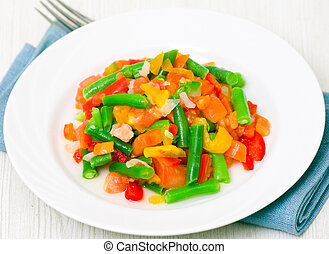 Mixed vegetables on a plate