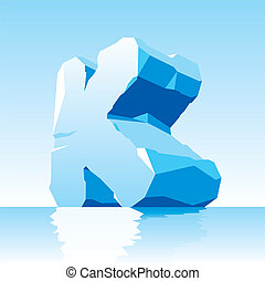 ice letter K - vector image of ice letter K