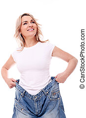Mid aged woman in big pants after weight losing - Happy mid...