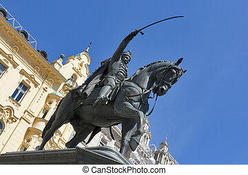 Statue on main square in Zagreb, Croatia - Statue of count...