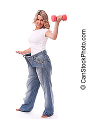 Woman in big pants after weight losing - Happy mid aged...