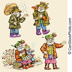 Little funny forest old man characters autumn collection...