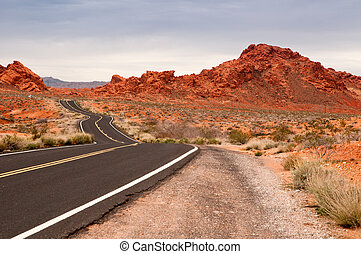 Road through Valley of Fire, Nevada
