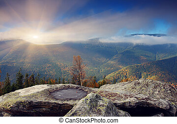 mountain - The mountain autumn landscape with colorful...