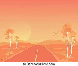 outback abstract - an illustration of an australian outback...
