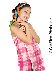 Girl after shower in curlers