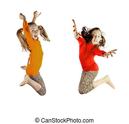 two little girls played and jumping