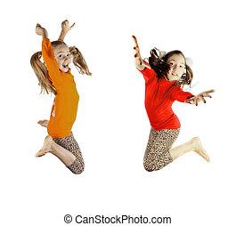 dos, poco, niñas, jugado, Saltar