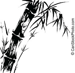Bamboo Silhouette Drawing - Hand drawn illustration of a...