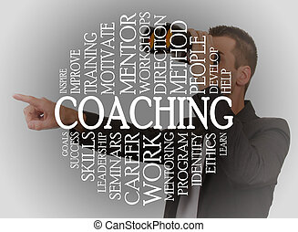 Coaching cloud concept with a coaching background