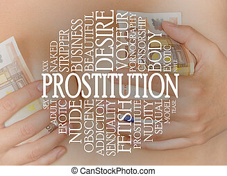 Prostitution cloud concept with a prostitution background,...