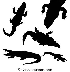 collection of silhouette crocodile isolated on white...